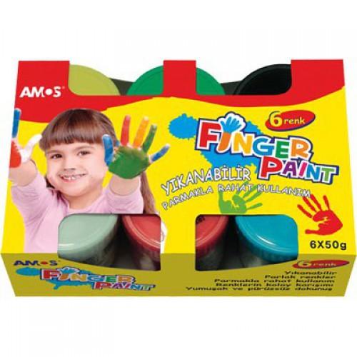 AMOS.22807 Краски пальчиковые наб. 6 цв. по 50 гр. -