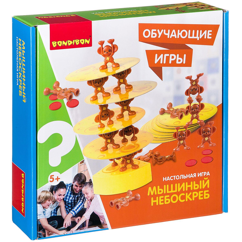 BONDIBON ВВ2422 Наст. игра «Мышиный небоскреб» - Игра на испытание удачи. Помогает развитию произвольности, игровой деятельности, тренирует внимание, развивает пространственное мышление и координацию рук. Веселое и полезное времяпровождение для детей, семьи и компании. По правилам игры необходимо собрат