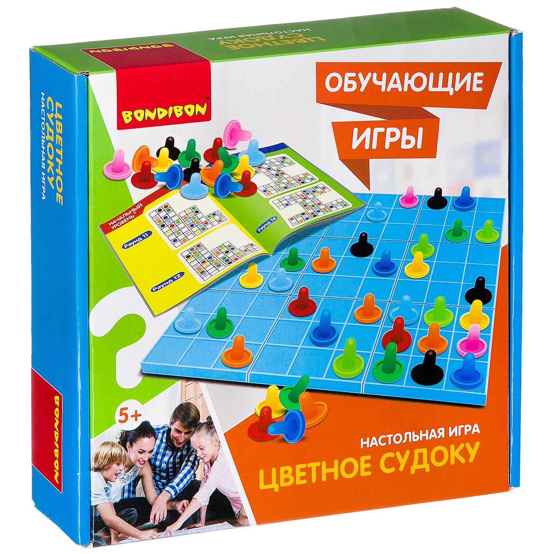 BONDIBON ВВ2425 Наст. игра «Цветное судоку» - Игра  тренирует логическое мышление и способность думать. Развивает познавательные способности и концентрацию внимания. Судоку в цвете изменит представление об игре в классическом варианте. Игрокам необходимо заполнить свободные клетки разноцветными фишка
