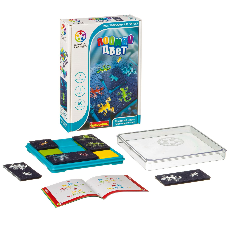 BONDIBON Логическая игра Поймай цвет - Помогите животным поймать себе жука на ужин! Поместите детали головоломки на игровое поле, таким образом, чтобы цвета лягушек и саламандр соответствовали указанным в задании. Но будь внимательны! Животные прозрачны, и их цвета будут меняться на разных уча