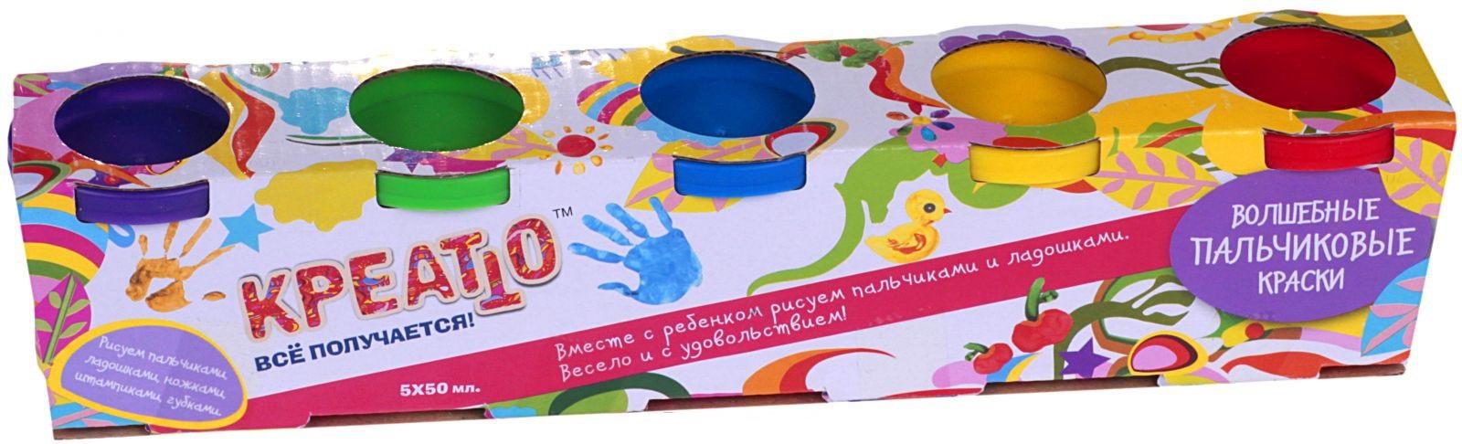 KREATTO. Пальчиковые краски  6 цв - 6 цветов по 50мл.