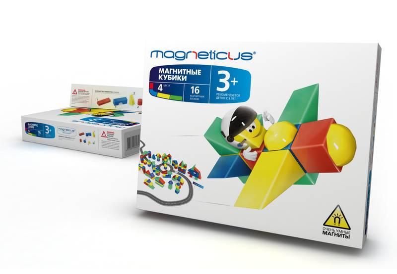 Magneticus.Магнитные кубики 16 эл. (ОС-016) - В комплект входят: 4 кубика с внутренним магнитом на каждой стороне,1 арка, 1 брусок, 4 равносторонних треугольника и 2 побольше (равнобедренных), 2 цилиндра и две фигуры сложной формы – изломанный полушар.Все фигуры четырех цветов.