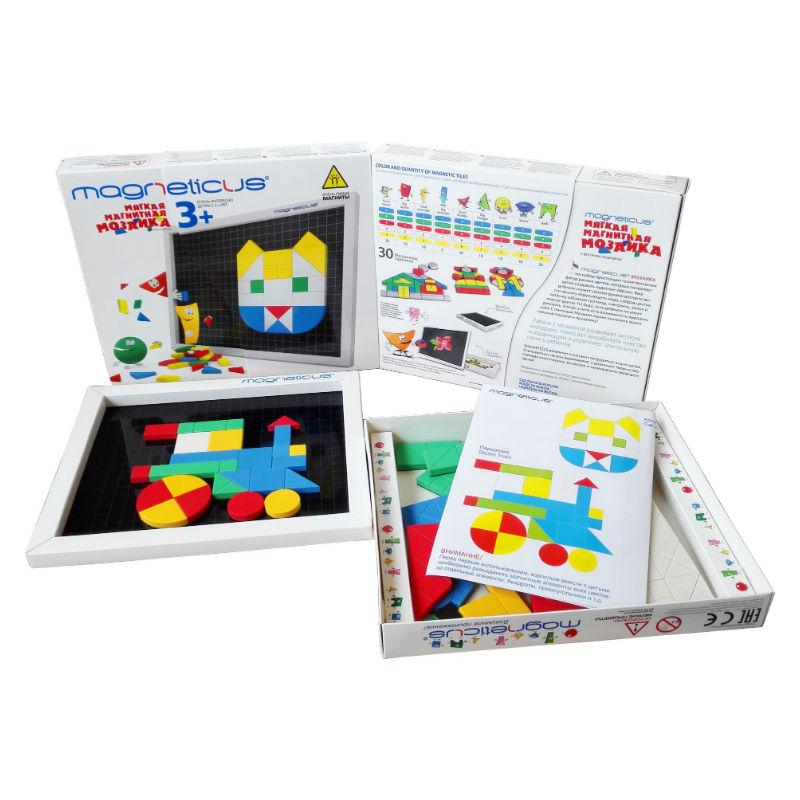 Magneticus.Мозаика 3+ 5 цветов - Состав набора: — 145 мягких магнитных элементов, — листок с примерами 30 картинок для сборки, — металлическое игровое поле, встроенное в коробку для хранения