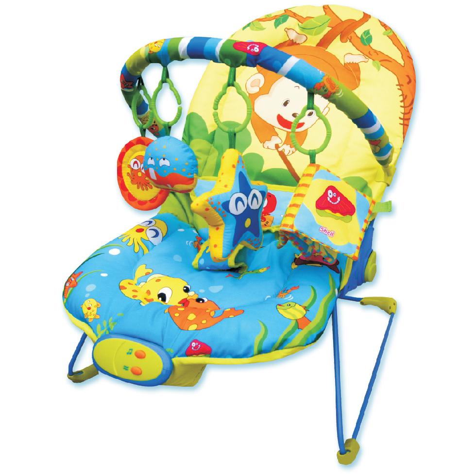 Mapa baby. Шезлонг детский 25996 - 66*50*51 см.,1 дуга,4 игрушки, музыка, вибрация