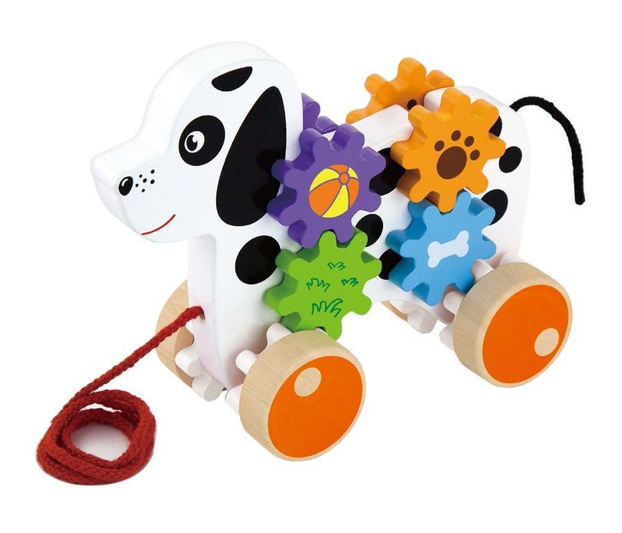 VIGA. 50977 Каталка Собачка с шестернями - Эта красочная деревянная каталка в виде собачки с шестеренками станет постоянным компаньоном вашего малыша, как дома, так и во время прогулок. При движении разноцветные шестерни с рисунками вращаются.