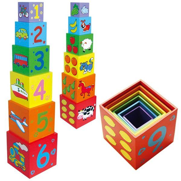 VIGA. 59461 Складывающаяся пирамидка (дерево) - Размер наибольшего кубика: 11х11х11 см