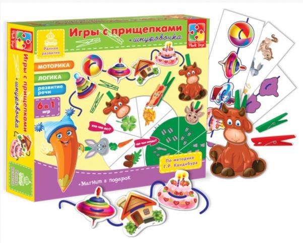 VladiToys. Игра с прищепками и шнурочками Животные - Развивающая игра по методике Кандибура