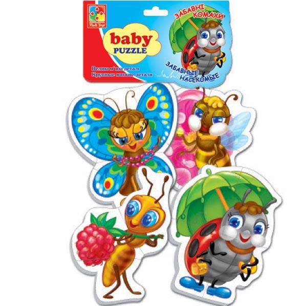 VladiToys. Мягкие беби пазлы. VT1106-06 Забавные насекомые - размер картинки: 14х10см