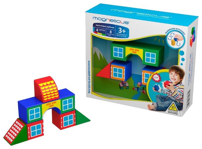 MAGNETICUS Mагнитные кубики Домики (BLO-001-3 ) - В комплект данного конструктора входят 8 ярких элементов, из которых ребенок может создавать макеты небольших строений, как по инструкции, так и придумывая схемы строений самостоятельно. Внутри каждого кубика находится магнит, благодаря чему все детали на