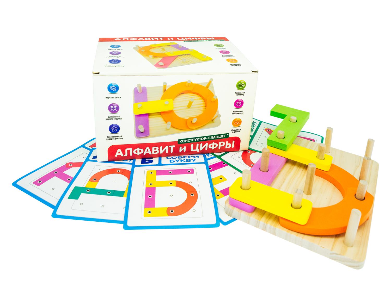 РДИ 1035а Конструктор-планшет Алфавит и Цифры - Играя, ребенок может собрать каждую букву русского алфавита, цифры, а также разнообразные фигуры и предметы, которые подскажет воображение маленького фантазера.