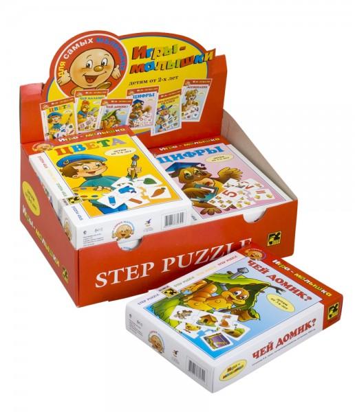 Степ. Малышам арт.76039 Игры малышки 6 шт. УПАКОВКА - Играем и учимся! Развивающая игра для дошкольников. Благодаря простым правилам и ярким картинкам, ребенок, наряду с получаемыми знаниями, развивает ассоциативное мышление, память, мелкую моторику рук.