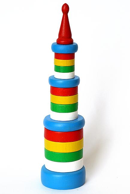 Климо. С47 Пирамидка цилиндрическая (дерево) - Размер, см: 27,5х6,7х6,7