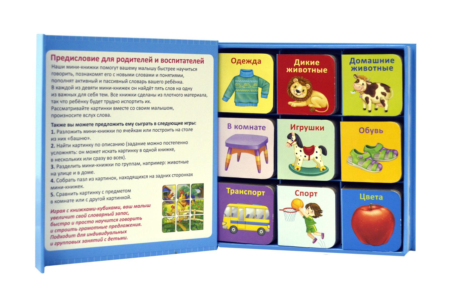 Робинс. Мини-книжки для малыша - Набор книжек-кубиков – это обучающее игровое пособие для детей. Внутри вы найдете 9 мини-книжек на самые первые развивающие темы, которые будут интересны мальчикам. Яркие картинки и подписи к ними помогут малышу познакомиться с окружающим миром, научиться