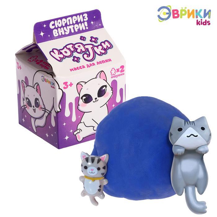Эврики. Масса для лепки «Котятки» с игрушкой - Путь к творчеству открыт! В коробочке с милым принтом вас ждёт яркая масса для лепки, а в ней — сюрприз.