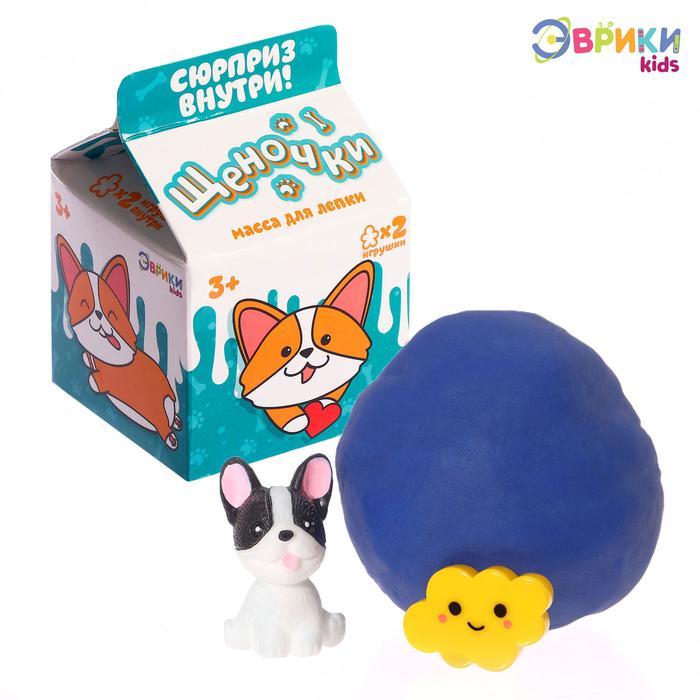 Эврики. Масса для лепки «Щеночки» с игрушкой - Путь к творчеству открыт! В коробочке с милым принтом вас ждёт яркая масса для лепки, а в ней — сюрприз.