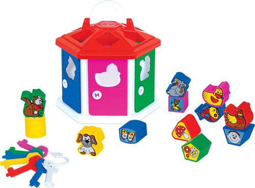 Полесье. Логический домик в сетке арт.6196 - Домик шестиугольный, в каждой стене дверка, за дверкой комнатка-квартирка (всего 6 штук)