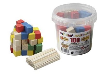 Анданте. Д013b Счетный материал 100  в пластиковом контейнере с - 40 палочек + 60 кубиков
