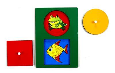Секретики Лягушонок-Рыбка - Планшет размером А5 с двумя вкладышами геометрической формы, под которыми кто-то «прячется».