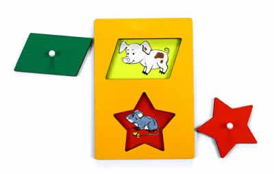 Секретики Поросенок-мышонок - Планшет размером А5 с двумя вкладышами: параллелограмм и звезда.