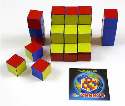 Уни-куб в коробке карт. - Прозрачная полиэтиленовая сумочка на молнии содержит набор из 27-ми пластмассовых кубиков с ребром 40 мм, с разноцветными гранями и красочно оформленными методическими рекомендациями по использованию игрового материала.