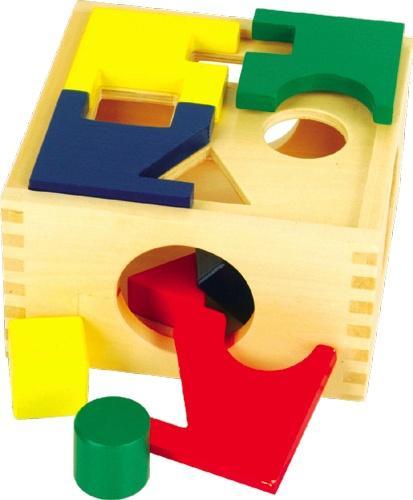 Занимательная коробка - В верхней крышке коробки отверстия четырех различных форм: круг, треугольник, прямоугольник и квадрат. К ним нужно подобрать соответствующие фигурки.