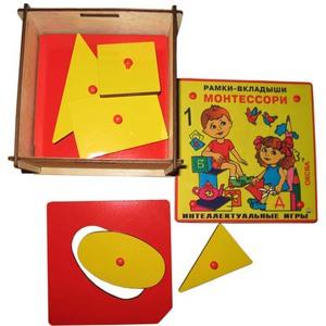 Рамки-вкладыши Монтессори 1 уровень класс элит - Нарядная деревянная коробка с 8-ю рамками-вкладышами с различными геометрическими фигурами простой формы.