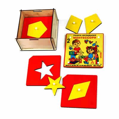 Рамки-вкладыши Монтессори 2 уровень класс элит - Нарядная деревянная коробка с 8-ю рамками-вкладышами с различными геометрическими фигурами сложной формы.