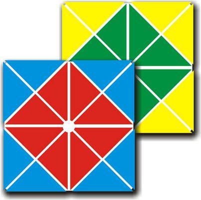 Воскобович. Квадрат 4-х цветов - Состав • На квадратную основу из ткани (140х140 мм) на некотором расстоянии друг от друга наклеены треугольники из плотного картона. Одна сторона «Квадрата» - зеленого и желтого цвета, другая – синего и красного. • Цветные рисунки 18 сложенных фигур в кни