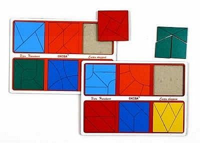 собери квадрат 1 уровень сложности эконом (Оксва) - В комплект игры входит 2 планшета (15х21 см), на каждом из которых можно собрать 6 квадратов.