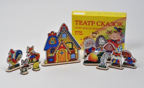 Театр сказок на столе (6в1) дерево - В состав игры входят фигурки-персонажи из разных сказок ,