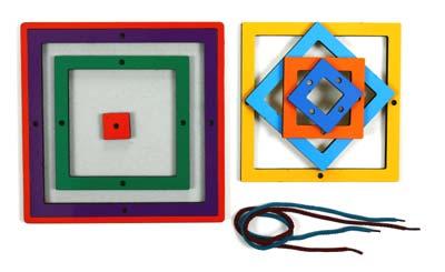 Радужная паутинка Квадрат - Планшет с набором из 7-ми рамок-вкладышей разного размера и цвета, но одинаковой формы. Игровой материал поможет ребенку познакомится сразу с несколькими понятиями: цвет, форма, размер предмета.