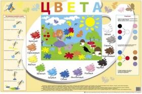 Плакат ЦВЕТА - Ламинированный плакат формата А1. Можно писать и рисовать прямо на плакате.  С помощью этого пособия ребенок познакомиться с цветом, научится смешивать краски и получать новые цвета.  Малыш хорошо запомнит название каждого цвета, выполняя предложенные