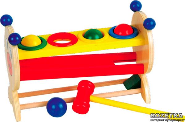 Горка-шарики малая (МДИ) - Игрушка на развитие моторики и общей координации движений.   Разноцветные шарики вставляются каждый в свою лунку, по цветам, и забиваются молоточком, чтобы покатиться по горкам.