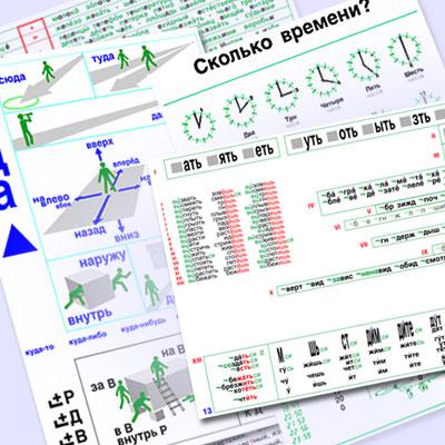 РУССКИЙ ДЛЯ ВСЕХ Таблицы формата А4 - В Русском для всех 45 таблиц по русской грамматике, заменяющих в совокупности сотни традиционных. Системное представление материала, возможность соотнесения его частей по сходству, смежности и различию, цветовое выделение, облегчающие восприятие, ориентир