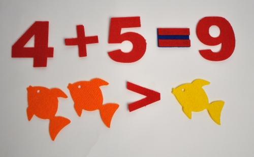 Счетный материал Рыбы из ковролина - Наглядный материал окажет содействие в освоении счета, закрепит умение выражать количество цифрами, поможет в составлении и решении простых задач.