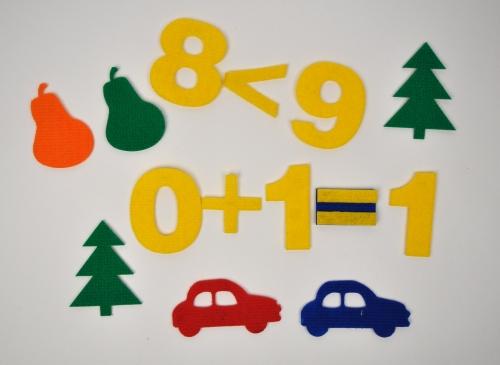 Счетный материал Авто из ковролина - Наглядный материал окажет содействие в освоении счета, закрепит умение выражать количество цифрами, поможет в составлении и решении простых задач.