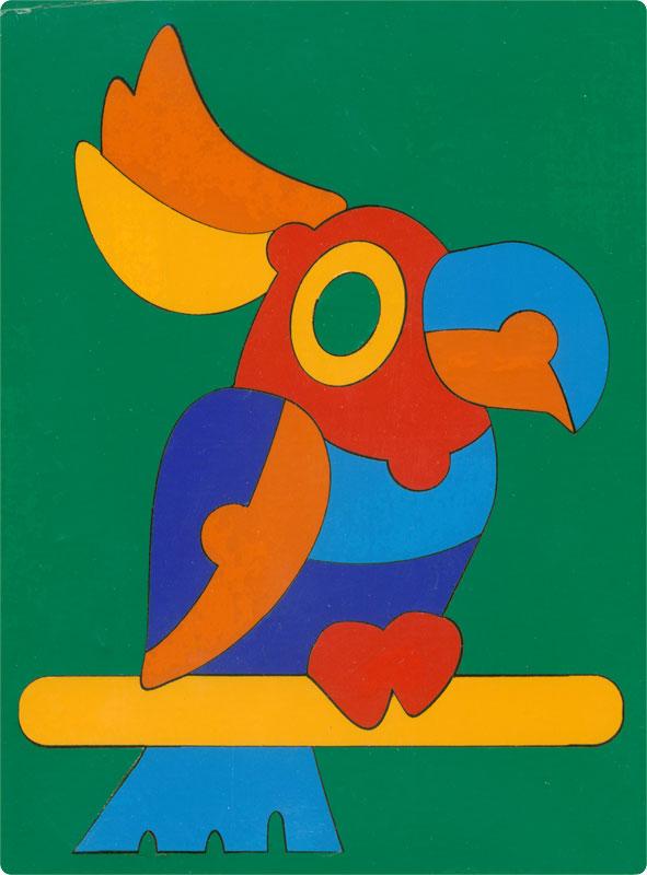 Сложи картинку. Птица Попугай (ГРАТ) - Пазл для самых маленьких состоит из 14 крупных деталей.  Размер планшета: 200 × 145 мм. Материал: оклеенная цв.плёнкой фанера. Вес: 100 г.