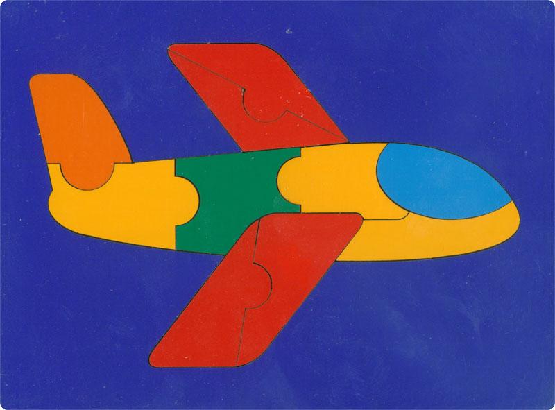 Сложи картинку. Самолет (ГРАТ) - Пазл для самых маленьких состоит из 10 крупных деталей.  Размер планшета: 200 × 145 мм. Материал: оклеенная цв.плёнкой фанера. Вес: 100 г.