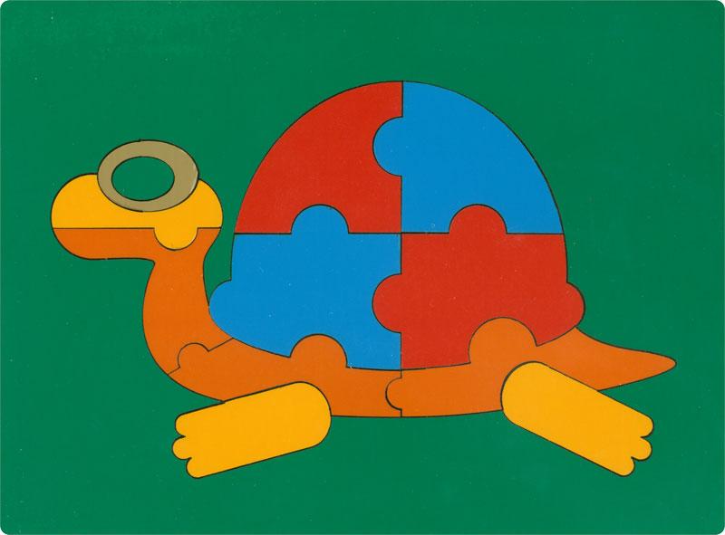 Сложи картинку. Черепаха (ГРАТ) - Пазл для самых маленьких состоит из 12 крупных деталей.  Размер планшета: 200 × 145 мм. Материал: оклеенная цв.плёнкой фанера. Вес: 100 г.