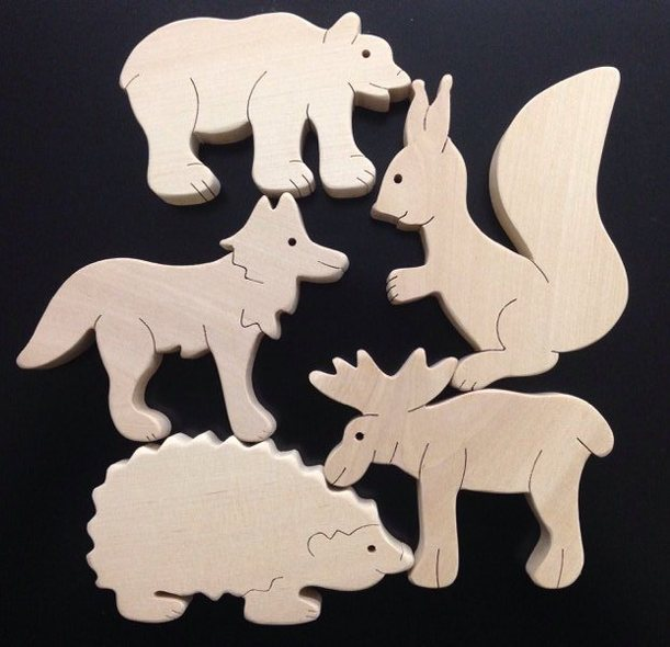 Набор В лесу. TreeTone. - размер коробки 20*20 см. лось, волк, медведь, белка, ёжик