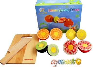 Готовим фруктовый десерт (Солнышко) - Набор состоит из: разделочной доски, фруктов, игрушечного ножа.