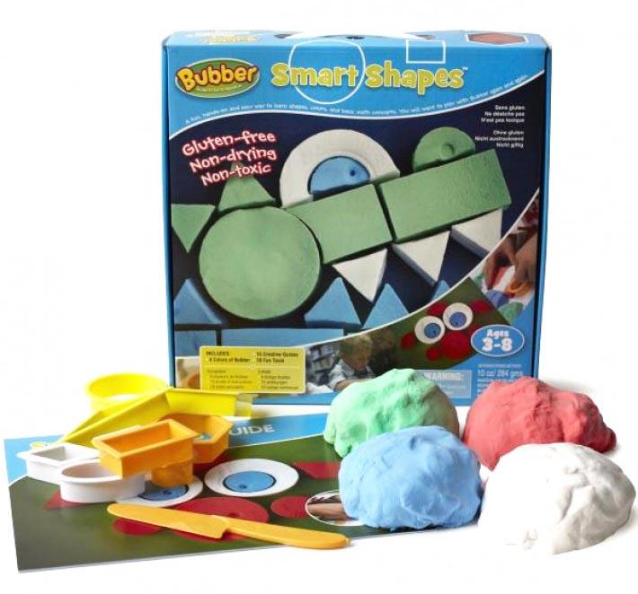 Игровой набор для лепки WABA FUN 140-111 Bubber Smart Shapes - В комплект входит: - 4 цвета смеси по 200 грамм (зеленый, синий, красный, белый), - 9 формочек с разнообразными геометрическими фигурами, - нож для моделирования, - брошюра с 15 заданиями и с тремя уровнями сложности.