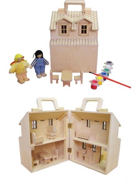 Домик-Раскраска - В набор входят: - деревянный домик; - две фигурки человечков; - набор мебели; - краски 6-ти цветов; - кисточка.