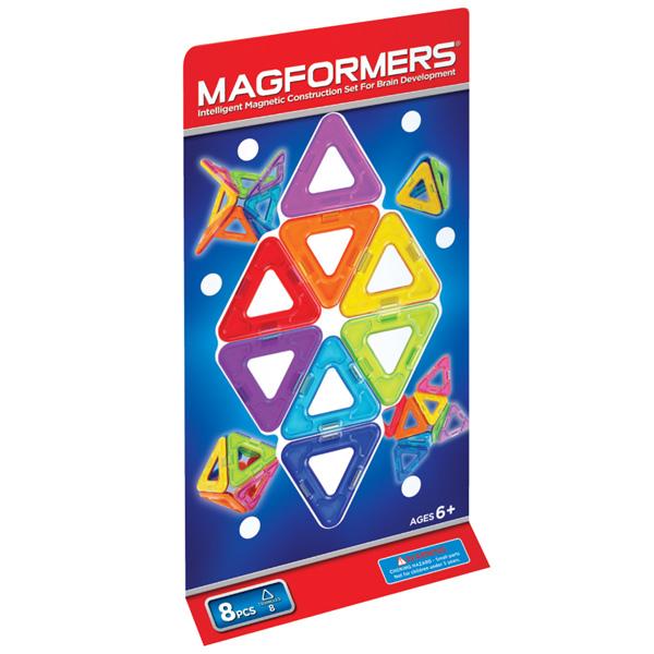 Магнитный конструктор MAGFORMERS Треугольники 8 701002(63085) - В комплект входит 8 деталей.