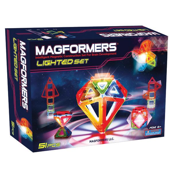 Магнитный конструктор MAGFORMERS 63092 Lighted set - Набор Magformers Lighted Set содержит 55 элементов: ●треугольник: 12 шт. ●равнобедренный треугольник: 8 шт. ●квадрат: 16 шт. ●мини-сектор: 8 шт. ●мини-арка: 4 шт. ●светодиод: 1 шт. ●светорассеивающая пирамида: 6 шт.