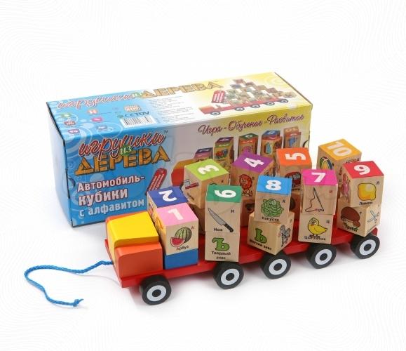 Автомобиль - Кубики с алфавитом (МДИ) - Размеры: 30x11,5x11см. В наборе двадцать кубиков, помогающих освоить как геометрические формы, так и буквы, а также увеличить свои знания про окружающий мир благодаря нанесенным на грани кубиков рисункам.