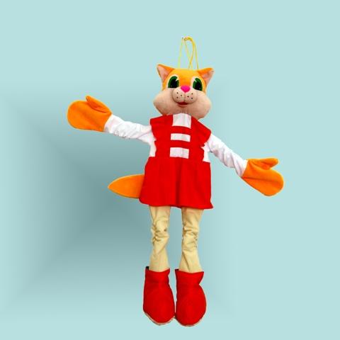 Ростовая кукла. Кошка - В руки и ноги ростовой куклы вставлены резинки, поэтому кошка будет выглядеть натурально на малышах разного возраста. В руки нужно вставить свои ручки, а в сапожки - ножки. С такой куклой интересно и весело играть, танцевать, разыгрывать стихи и сказки, д