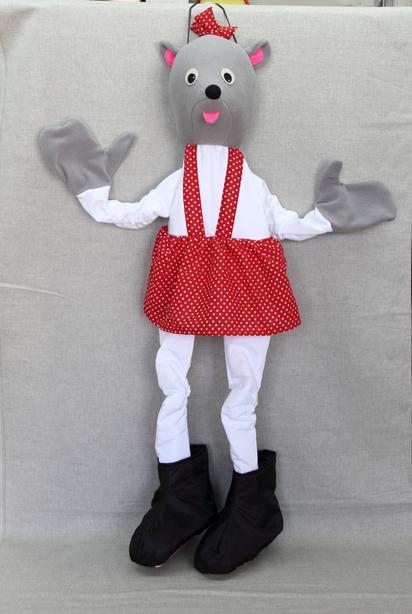 Ростовая кукла. Мышка - Если в руки вставить свои ручки, а в сапожки - ножки, то благодаря вшитым резинкам ростовая кукла мышки будет прекрасно