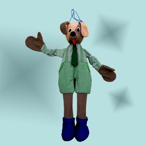 Ростовая кукла. Собачка - Внутри собачки зашитые резинки, поэтому ростовая кукла будет выглядеть естественно на малышах разного возраста. Юному актеру остается только надеть собачку на себя и выйти на сцену. С такой куклой интересно и весело играть, танцевать, разыгрывать стихи и