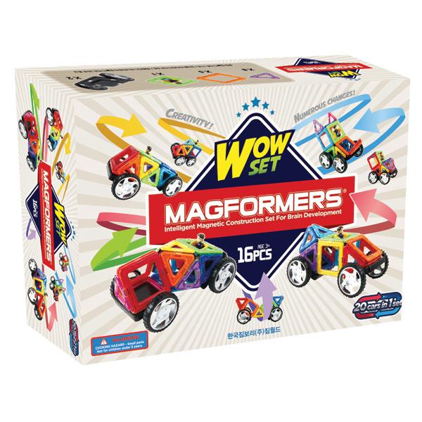 Магнитный конструктор MAGFORMERS 707004 Wow set - Набор Magformers Wow set содержит 16 деталей: - Квадраты - 5 шт.; - Треугольники - 8 шт.; - Платформа с колесами - 2 шт.; - Фигурка мальчика - 1 шт.
